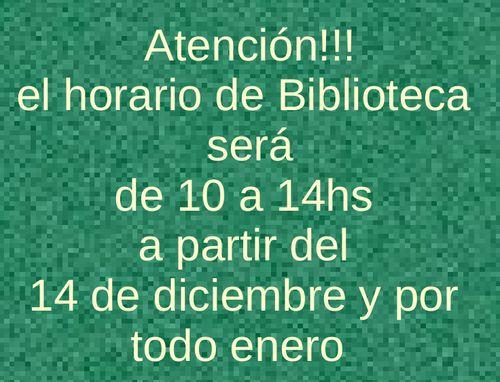 cartel horario de biblioteca