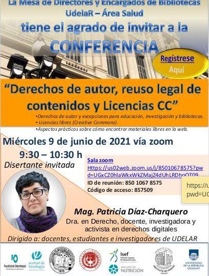 Imagen del afiche sobre la Conferencia de la Dra. Patricia Díaz